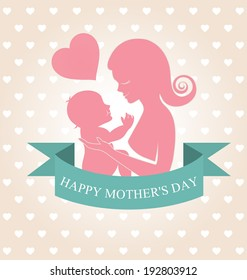 Mother carrying her child on heart background