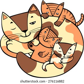 Mother cat is laying and little kittens around. Vector illustration.