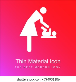 Mother changing baby clothes red and pink gradient material white icon minimal design