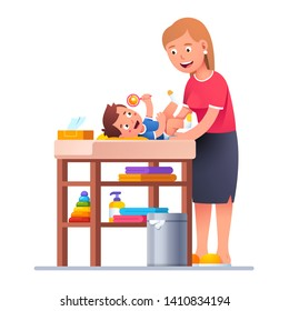 Mother changing diaper to happy smiling toddler baby boy playing rattle toy. Baby nappy child changing table with wet tissue, clean towels. New born son parenting. Flat vector character illustration