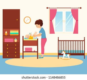Mother changing diaper ion a changing table. Baby room with furniture. Vector illustration. Cartoon style