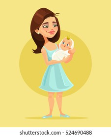 Mother character holds little child on hands. Vector flat cartoon illustration