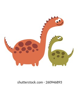 Mother and child: dinosaurs big and small. Vector illustration on white background. Cartoon set