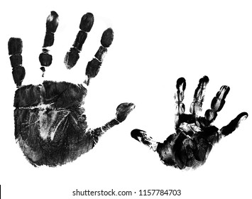 Mother and child handprints over  white background, vector illustration