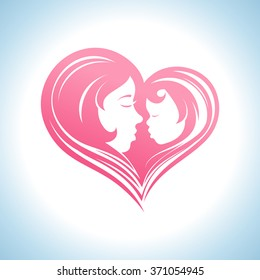 Mother and child heart-shaped silhouette in a profile, logo template.