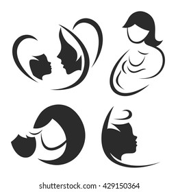 Mother and child icon or logo set.