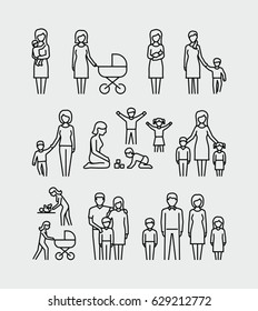 Mother and child, nanny watching baby, family vector icons set in thin line style