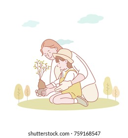Mother and child planting tree. hand drawn illustrations. vector doodle design