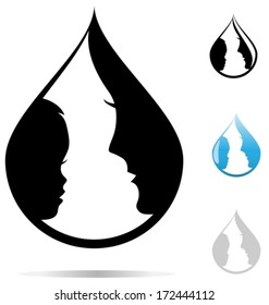 Mother and child, silhouettes in shape of a water drop. Vector illustration.