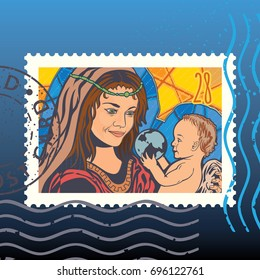 Mother and Child. Stained-glass. Vector illustration. Postage Stamp. Mark. Postcard.