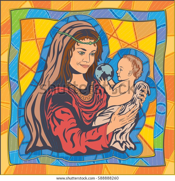Mother and Child. Stained-glass. Vector illustration.
