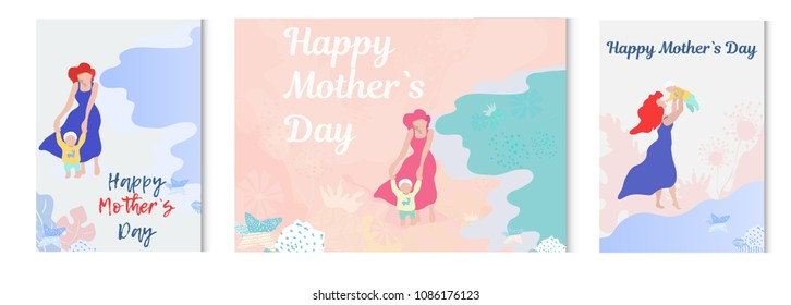 Mother with child vector illustration. mother teaches the child to walk. Parenting illustration. Moder flat shapes design. Hand drown illustration. -stock vector.