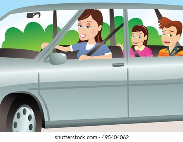 Mother and children in automobile.