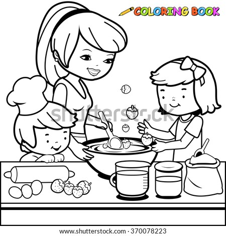 Mother Children Cooking Kitchen Coloring Book Stock Vector (Royalty ...