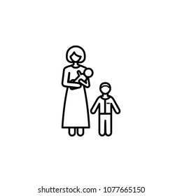 mother with children icon. Element of family for mobile concept and web apps. Thin line icon for website design and development, app development. Premium icon on white background