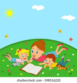 mother and children are reading book on a meadow, illustration, vector