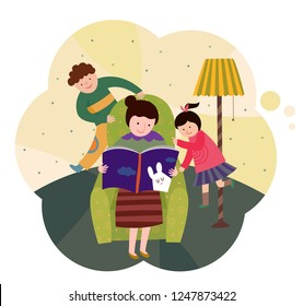 Mother and children reading story books on the couch