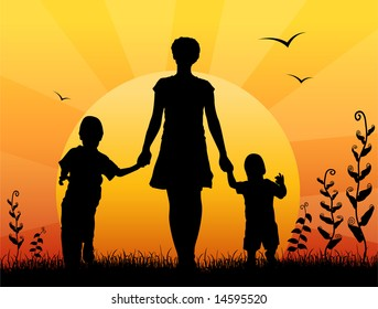 Royalty Free Mother And Child Silhouette Images Stock Photos