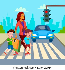 Mother With Children Walk At Crosswalk Vector. Isolated Illustration