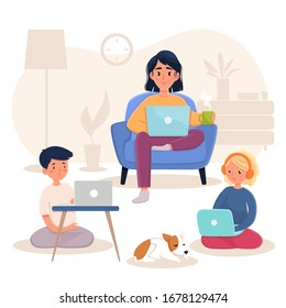 Mother and children working at home