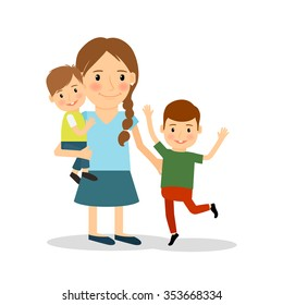 Mother with children. Young woman and two boys. happy family lifestyle. Vector illustration.
