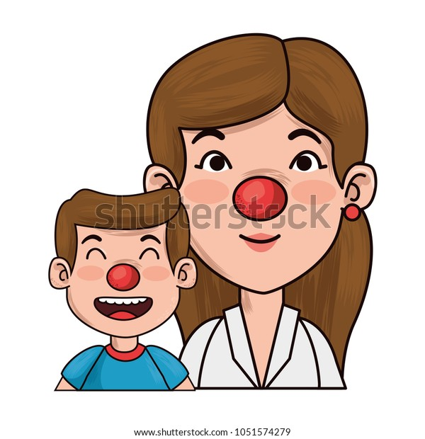 Mother Clown Boy Characters Stock Vector (Royalty Free