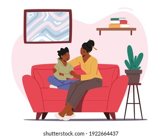 Mother Comforting Child Sitting on Sofa in Living Room. Mom and Son Talking of Problems, Parent Character Support and Embrace Boy. Loving Relations, Parenting. Cartoon People Vector Illustration