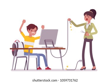 Mother cuts computer wire. Angry mother tired with her adolescent son excessive computer using, negative feelings about not walking outdoor, gaming in internet. Vector flat style cartoon illustration