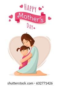 Mère et fille. Carte de jour de la mère, arrière-plan