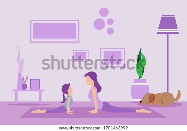 Mother and daughter doing exercise at home in a living room on a yoga mat. Sporty female models exercising yoga at home. Keep calm during quarantine concept, vector illustration and copy space