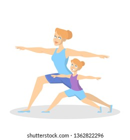 Mother and daughter doing yoga exercise. Healthy and active lifestyle. Parent and child standing in position. Isolated vector illustration in cartoon style