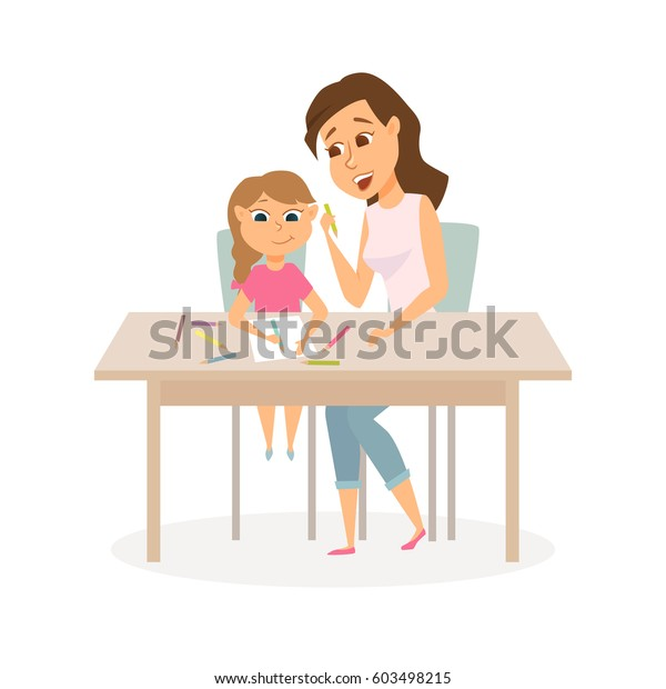 Mother Daughter Drawing Mom Child Study Stock Vector