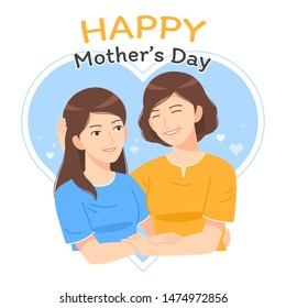 mother and daughter embrance with heart at background vector illustration