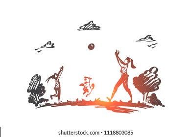 Mother, daughter, family, parenting, vacation concept. Hand drawn mom, daughter and dog play ball near lake concept sketch. Isolated vector illustration.