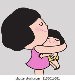 Mother And Daughter Hugging Eachother With Love. Concept Of Mother's Day Card Character illustration