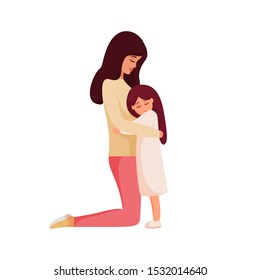 Mother and daughter hugging. Mom standing on knees and cuddling little child. Kind young woman calms her little girl. Parent shows love and care. Colorful cartoon characters. Vector illustration