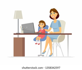 Mother and daughter at the laptop - cartoon people characters illustration on white background. Young parent helping her kid to do homework, learn computer science, sitting at the desk. Family concept