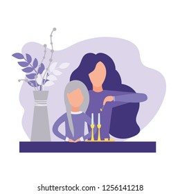 Mother and daughter lighting candles for Shabbat. Isolated on white background. Vector illustration. Modern flat style.