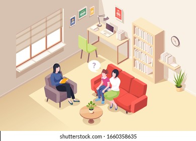 Mother and daughter at psychologist counseling, people at psychologist counselor couch, vector isometric design. Woman and teenager kid at psychology therapy session for relationship problem
