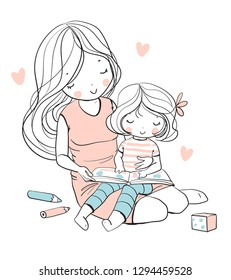 Mother and daughter read a book. Family. Vector illustration.