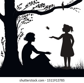 mother and daughter silhouette, young woman is sitting under the tree and girl is trying to catch butterfly, family scenein hot summer day,   summer memories, black and white, vector