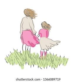 Mother and daughter standing holding hands. Vector illustration of mother and child  standing in the grass