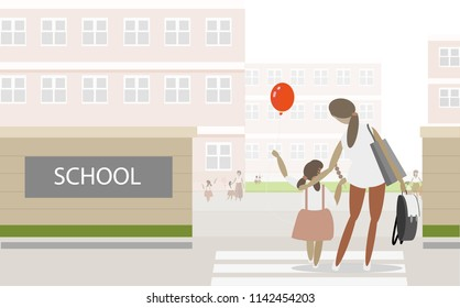 mother and daughter walking at the school