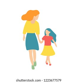 Mother and daughter walking. Vector illustration