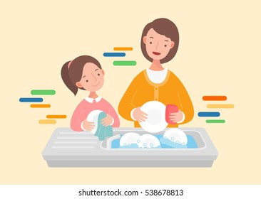 Mother and daughter washing the dishes.