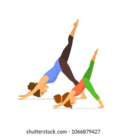mother and daughter, woman and child girl doing together yoga exercises isolated vector illustration scene