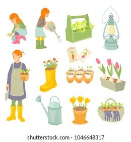 Mother and daughters gardeners. Woman holding pot with seedling. Girls watering and planting Spring garden works set. Seedling, seeds, watering can, basket, flowers, rubber boot, lamp.