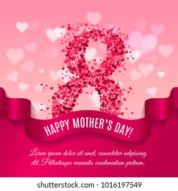 Mother day background with silk ribbon and 8 match made of pink paper hearts. Greeting card for women or mother s day. Vector illustration