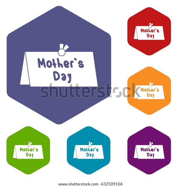 Mother Day postcard icons set hexagon isolated vector illustration