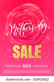 Mother Day Sale poster for shopping with gold text and rose flower background for springtime discount promo shop design template